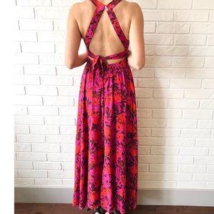 NEW boho halter open back floral maxi dress